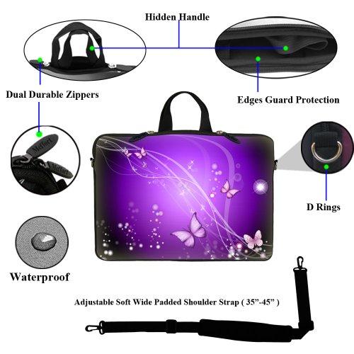 Laptoptasche, 15-15,6 Zoll, mit verstecktem Tragegriff und verstellbarem Schultergurt, inklusive Klebefolie im Messy-Word Designund Mauspad, Leopard Prints Design, 39,6 cm Purple Swirl Butterfly Design