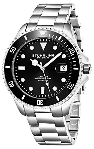 Stuhrling Original Mens Stainless Steel Automatic Self Wind Dive Watch Deep Black Dial 200M Water Resistant Unidirectional Ratcheting Bezel Screw Down Crown Sport Watch 792 Series by Stuhrling Original