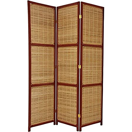 Oriental Furniture Simple, Beautiful, Unique, 6-Feet Tall Woven Accent Room Divider, Black, 3 Panel FB-WOVSCR-3P-BLK