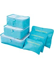 FashionUp 6 Set Packing Cubes,Travel Luggage Packing Organizers Set with Laundry Bag for Travel (Light Blue)