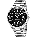 Stuhrling Original Mens Stainless Steel Automatic Self Wind Dive Watch Deep Black Dial 200M Water Resistant Unidirectional Ratcheting Bezel Screw Down Crown Sport Watch 792 Series