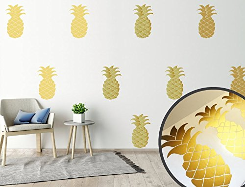 Gold Pineapple Wall Stickers, Wall Decals, Gold Wall Stickers, Home Decor,  Wall
