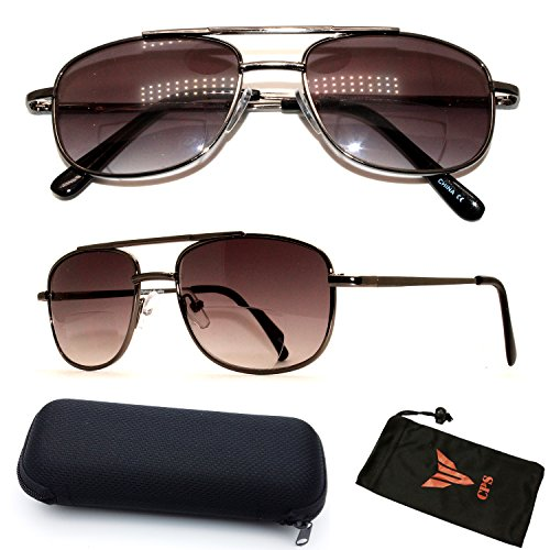 (#FR6119BF)1 Pair Unisex Aviator Retro Bifocal Sun Readers Spring Hinged Reading Glasses Sunglasses (Black, - Sunglasses Reading Bifocal Glasses