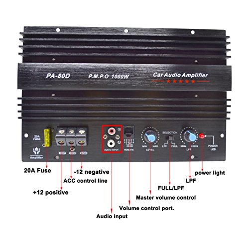 PA-80D Car Amplifie 1000W High Power Tube Amplifier Subwoofer Amplifier by bass audio (Image #1)