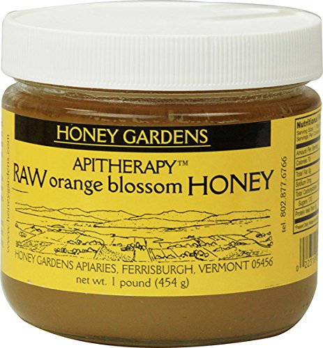 Apitherapy Raw Honey-Orange Blossom Honey Gardens 1 lbs Glass Jar
