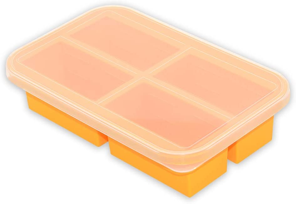 Bangp 1-Cup Extra Large Silicone Freezing Tray with Lid,Silicone Food Freezer Container for Broth,Sauce or Butter,Large Ice Cube Tray,Soup Cubes Freezer Tray - Makes 4 Perfect 1 Cup Portions