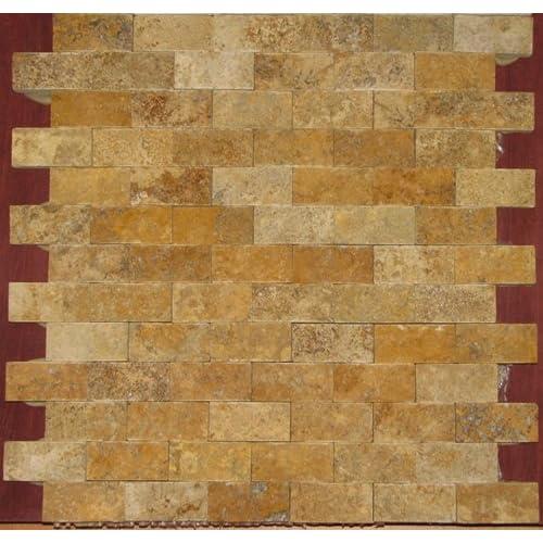 Gold/Yellow 1 X 2 Split Face Travertine Mosaic Tile delicate
