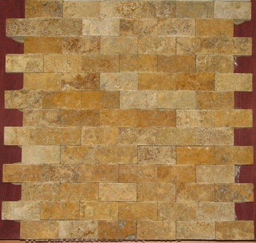 Gold/Yellow 1 X 2 Split Face Travertine Mosaic Tile ()