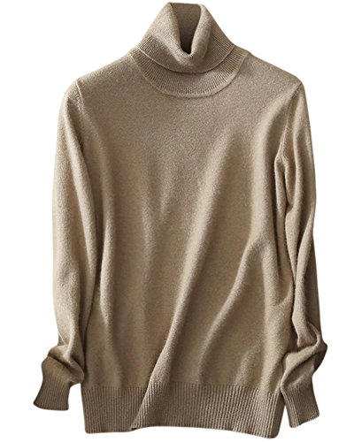 Women's Warm Long Sleeves Turtleneck Lightweight Basic Cashmere Sweater, Camel, Tag L = US M(8)