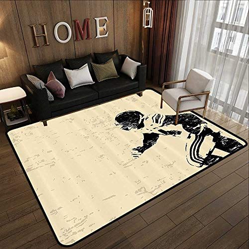 Bath Rugs,Sports Decor,Rugby Player in Action Running Success in Arena Playground USA Sport Best Team Picture,Beige Black 59