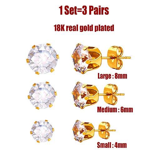 3 Pairs Crystal Stud Earrings Set Women Men 18K Gold Plat...