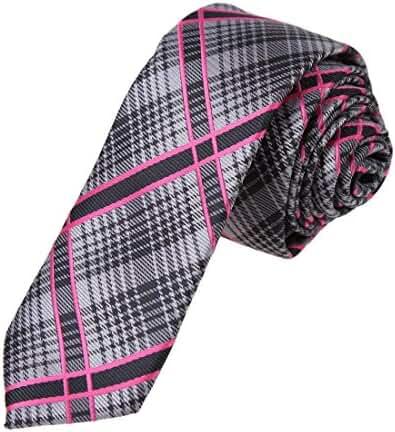 DAE7C.02 Dress Goods Checkered Microfiber Skinny Tie for Mens By Dan Smith