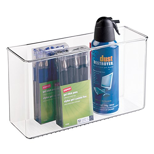 mDesign AFFIXX, Peel-and-Stick Adhesive Organizer for Office, Cabinet, Locker - Large, Clear