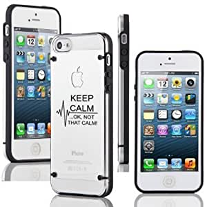 Apple iPhone 5c y Transparente Carcasa de TPU carcasa rígida Keep Calm no pasa no es que Calm Enfermera Paramédico Medical EKG (negro)