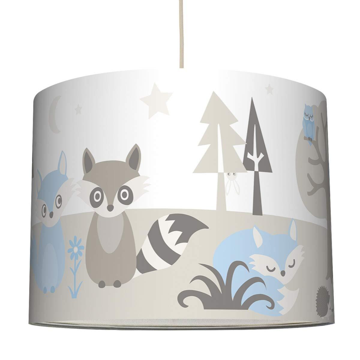 /ø 40 x 30 cm Lampenschirm f/ür Kinder//Baby Lampe mit Waldtieren anna wand H/ängelampe LITTLE WOOD HELLBLAU//GRAU BEIGE Sanftes Kinderzimmer Licht M/ädchen /& Junge