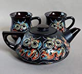 Tea service set for 2, Handmade ceramic Owl tea set, Teapot & two mugs, Family New home gift, Wedding gift