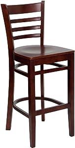 Flash Furniture HERCULES Series Ladder Back Mahogany Wood Restaurant Barstool