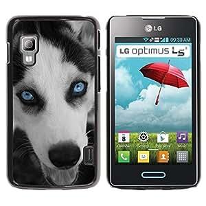 Be Good Phone Accessory // Dura Cáscara cubierta Protectora Caso Carcasa Funda de Protección para LG Optimus L5 II Dual E455 E460 // Husky Eyes Blue Face Muzzle Dog