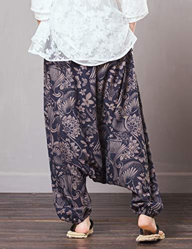 en Vrac Unisexe Confortable Elastique Pantalon Coton t Zhhlinyuan 2 Harem Fonc Pantalon Lin Taille Lanterne Trouser Bleu Baggy qCgXfpw