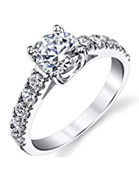 Metal Masters Co.® Sterling Silver Cubic Zirconia 1.25 Carat TW Engagement Ring Wedding Bridal Band, Sizes 5 to 9