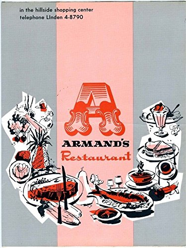 Armand's Restaurant Menu Hillside Shopping Center Hillside Illinois 1960's Armand Paper