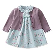 Ferenyi's Baby Girl's Clothes Long-sleeved Jacket With Floral Dress Sets (4-10 Months, purple)