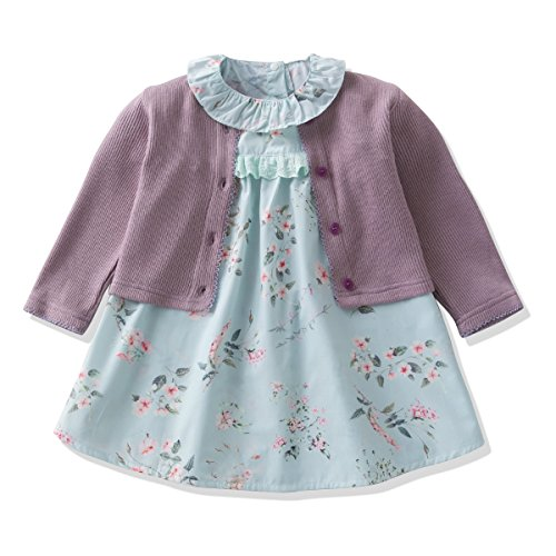 (Ferenyi's Baby Girl's Clothes Long-sleeved Jacket With Floral Dress Sets (4-10 Months,)