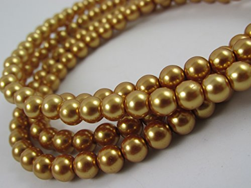Faux Glass Necklace - Glass Pearl Finish Round Tiny Beads Gold Color for Handmade Jewerly Necklace Bracelet Beading Supplies faux pearls TOP quality C34 (10mm)