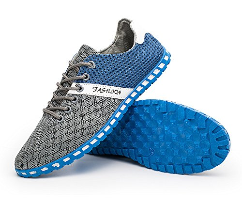 Casual de Plano Malla Zapatos Neopreno Respirable Ejercicio Suave Agua Al Libre Zapatos Aire CUSTOME de Traje oscuro Hombres Ligero Gris EwqB4C45yZ