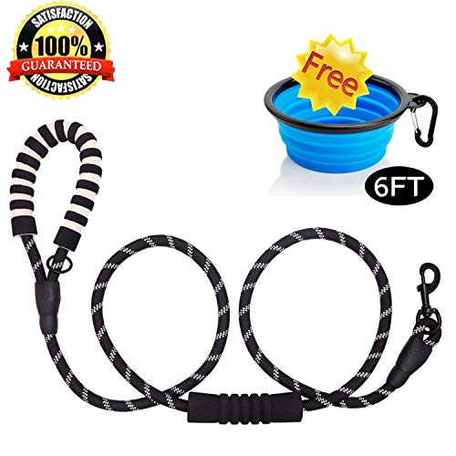 lesfunny 7 FT Dog Heavy Duty Rope Leash with Comfortable Padded Handle and Reflective Threads for Night Glow Dogs Leash with Thick Durable Nylon for Small Medium Large Dogs