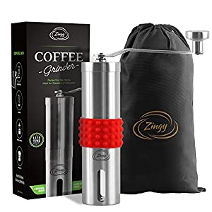 Zingy Portable Manual Coffee Grinder with Non-Slip Silicone Grip, Storage Bag, Measuring Spoon and Cleaning Brush