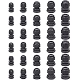 30 Pcs Cable Glands,Plastic Waterproof Cable Connectors,Adjustable 3.5 - 13mm Cable Gland Joints,PG7, PG9, PG11, PG13.5, PG16 (Black) by Jetovo