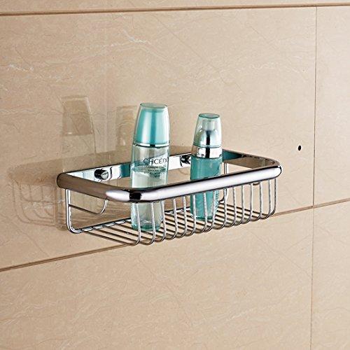 Solid Brass Rectangle Shower Wire Basket Wall Mounted Shower Caddy Soap Holder Storage Shelf (30cm13cm7cm, chrome Finish)