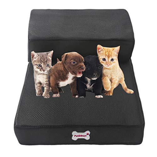 AckfulBreathable Mesh Foldable Pet Stairs Detachable Pet Bed Cat Dog Ramp 2 Steps (Black ()