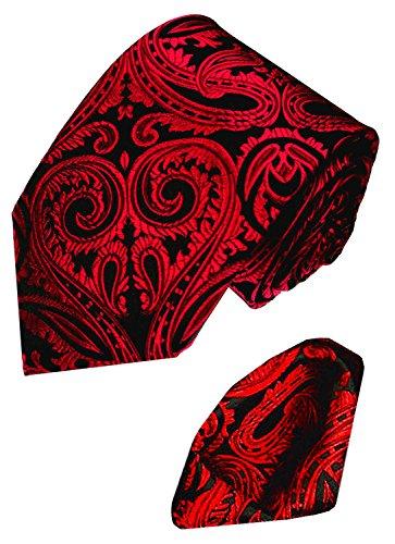 Lorenzo-Cana-Italian-Silk-Woven-Neck-Tie-Hanky-Set-Black-Wine-Paisley-8438401