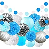 Fonder Mols White Blue Turquoise Silver Tissue Paper Flowers Pom Pom Party Lanterns Circle Dots Garlands (Pack of 22) for Navy Nautical Anchor Sea Ocean Bubble Themed Party Decorations
