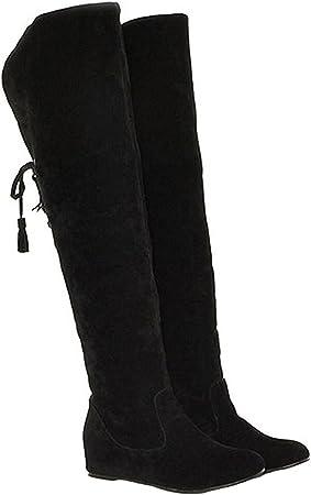 Minetom Mujer Invierno Moda Calentar Botas De Nieve Slouchy Botas De Piel Cargadores De La Rodilla