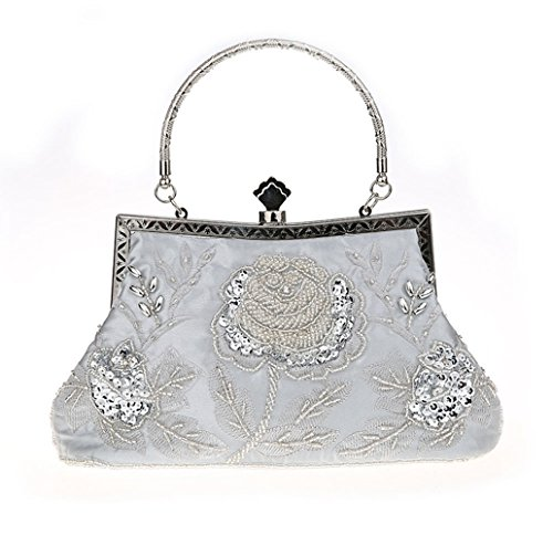 Vintage And Bags Party Style Evening Wedding Purse Women Clutch Handbag Silver KING Sequined MIMI Manual For Beaded zFW75TS