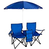 WDE Picnic Double Folding Chair w Umbrella Table Cooler Fold Up Beach Camping Chair