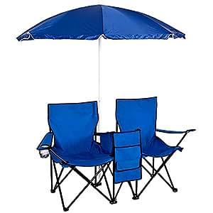 Picnic Silla Doble Plegable con Paraguas Playa Camping Mesa Refrigerador plegable al aire libre Set
