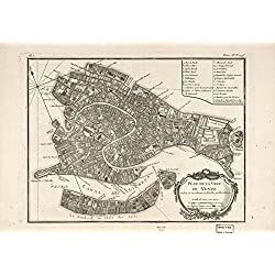 Wall Art Print entitled Vintage Map Of Venice Italy (1764) by Alleycatshirts @Zazzle | 10 x 7