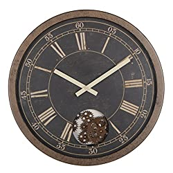 WonderZoo Retro Clock w/Moving Smart Gears, Large 15 W x 2.5 D x15 H, Industrial, Ancient Time, Antique, for School Office Home Creative Clock Decor (Wondering Eye)