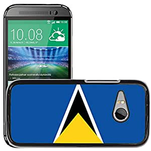 GoGoMobile Slim Protector Hard Shell Cover Case // V00001101 saint lucia National Country Flag // HTC One Mini 2 / M8 MINI / (Not Fits M8)
