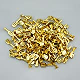 100 Car Vehicle Motorcycle 6.3mm Female Brass Electrical Terminal With Tap For Block Connector 20-12 AWG Wire