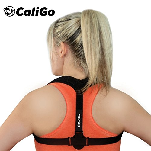 Caligo Back Posture Corrector Brace for Women Men - Adjustable Lumbar Support Device for Neck, Spine, Clavicle, Shoulder & Lower Back Pain Relief |Comfortable Discreet Alignment for Work, Home, Travel