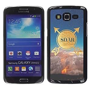 FECELL CITY // Duro Aluminio Pegatina PC Caso decorativo Funda Carcasa de Protección para Samsung Galaxy Grand 2 SM-G7102 SM-G7105 // Quote Motivational Gold Nature Sky