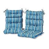 Greendale Home Fashions Outdoor High Back Chair Cushion in Coastal Stripe (set of 2), Sapphire