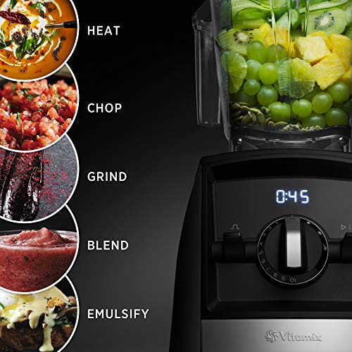 Vitamix A2500 Ascent Series Smart Blender, Professional-Grade, 64 oz. Low-Profile Container, Black (Renewed)