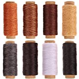 #1: 438 Yards 150D Leather Sewing Waxed Thread, 8 Colors Thread Cord for Hand Sewing Leather DIY and Bookbinding Material Accessories (54.7 Yards/Colors)