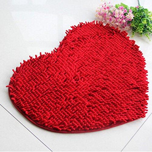 (Sothread 50x60cm Bedroom Door Mat Heart Shaped Carpet Fluffy Chenille Rug Cushion (Red))